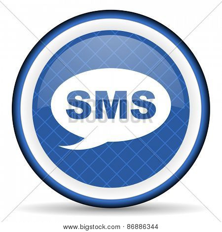 sms blue icon message sign