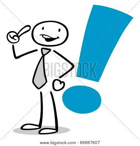Illustrated business man having idea with exclamation mark