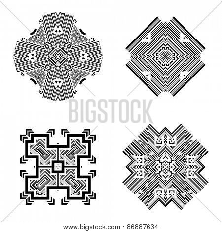Set of Tribal and Ethnic Elements. Aztec Tribal Style, Tribal Design. Isolated on White Background