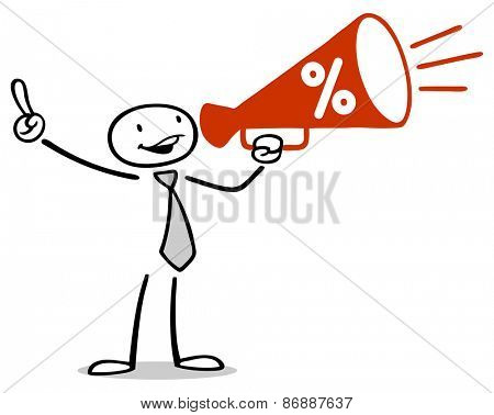 Drawn business man doing marketing with red megaphone for special sale