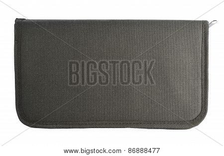 Black case for brushes isolated
