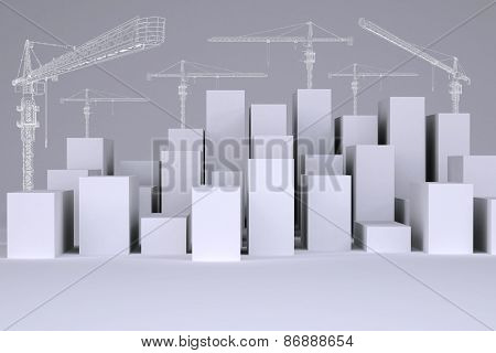 White cubes with wire-frame tower cranes
