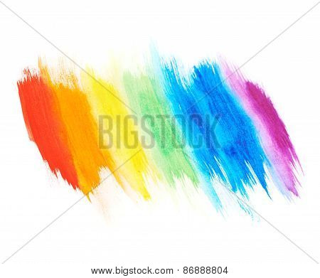 Rainbow gradient made with paint strokes