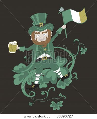 Leprechaun with flag holding a mug of beer in the other hand.