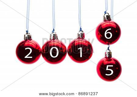 Red christmas balls with numbers of old and new year