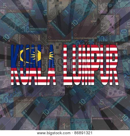 Kuala Lumpur flag text on Ringitt sunburst illustration