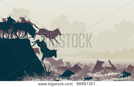 Cutout illustration of wildebeest on migration crossing a large river with a crocodile