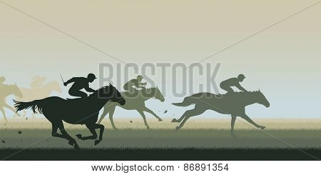 Cutout illustration of horses and jockeys racing