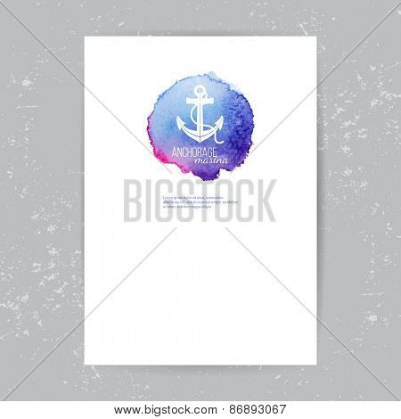 brochure template with anchor logo over watercolor background