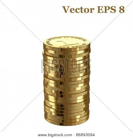 Stack of golden shinny one dollar coins, vector illustration EPS 8.
