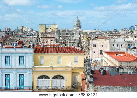 Panoramic view of Old Havana on a beautiful summer day with a clear blue sky