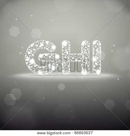 Glowing Letters G to I on Bokeh Background