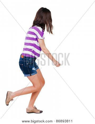 back view of running  woman. beautiful brunette girl in motion. backside view of person.  Rear view people collection. Isolated over white background.