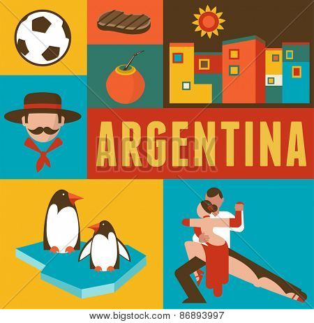 Argentina background and poster - set of icons and illustrations