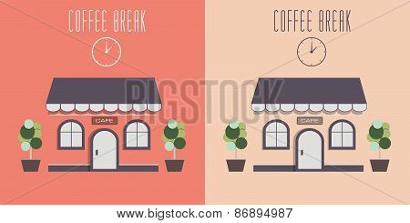 Illustration of cute cozy cafe.