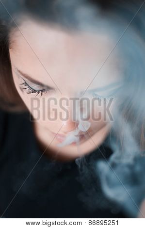 The Upset Woman Smokes