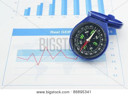 Blue Compass On Graph Paper, Business Concept