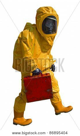 Man with briefcase in protective hazmat suit, isolated on white
