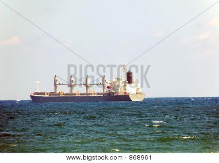 Cargo Vessel In Ocean