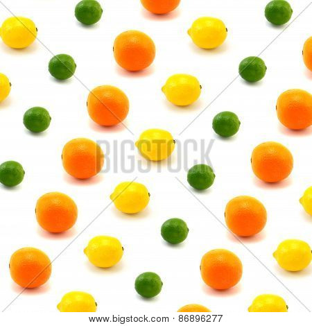 Lemon, Lime, And Orange With White Backdrop