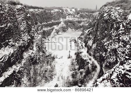 Stone quarry Big America in winter, Czech Republic