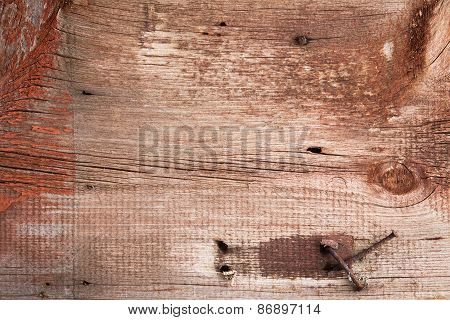 Old Wood Texture With Rusty Nails