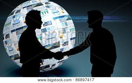 Smiling young businessmen shaking hands in office against screen sphere showing business advertisement
