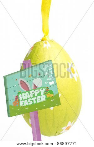 Easter egg hunt sign against green wrapped easter egg with daisy pattern