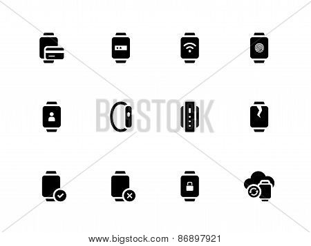 Smart watch with payment function icons on white background.