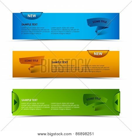 Modern Horizontal Banners With Ribbons And Pointers
