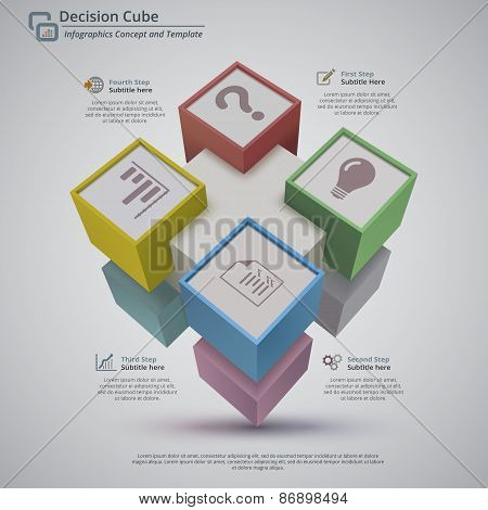 Decision Cube 3D Abstract Infographic Background