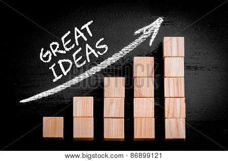 Words Great Ideas On Ascending Arrow Above Bar Graph