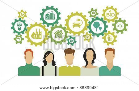 people with gears over their heads and ecology icons. Eco background infographic. Eco concept. Concepts web banner and printed materials.