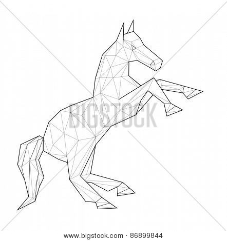 Horse. Low polygon linear illustration