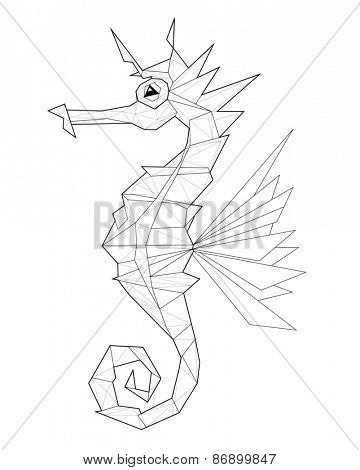 Sea horse. Low polygon linear illustration