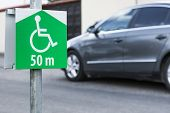 stock photo of disabled person  - Symbol of the parking lot, no parking on site for a disabled persons.