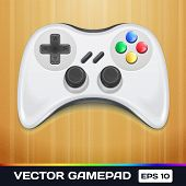 pic of controller  - Vector Game Controller Icon on wooden background - JPG