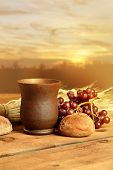 stock photo of communion  - Communion cup with bread - JPG