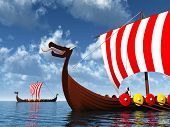 foto of viking ship  - Computer generated 3D illustration with Viking Ships - JPG