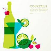 foto of cocktail menu  - Bottle and glass with lime cherry fruits - JPG