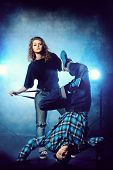 picture of rap-girl  - Two modern dancers over grunge background - JPG