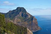 image of off-shore  - Panoramic view of the coast of volcanic landscape of Robinson Crusoe Island - JPG