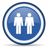 image of gay symbol  - couple blue icon people sign team symbol  - JPG