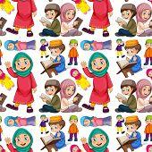 foto of muslim kids  - Seamless muslim man and woman - JPG
