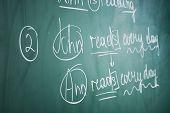 stock photo of grammar  - Grammar sentences on blackboard background - JPG