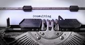 picture of typewriter  - Vintage inscription made by old typewriter consulting - JPG