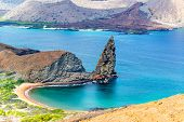 picture of pacific islands  - View of Pinnacle Rock on Bartolome Island in the Galapagos Island in Ecuador - JPG