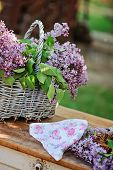 image of headband  - basket of lilac tree flowers and headband on wooden table in spring garden - JPG
