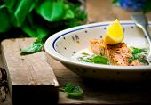 picture of sorrel  - salmon with sauce from a sorrel - JPG