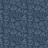 stock photo of drum-set  - Toy Line Icon Pattern Set - JPG